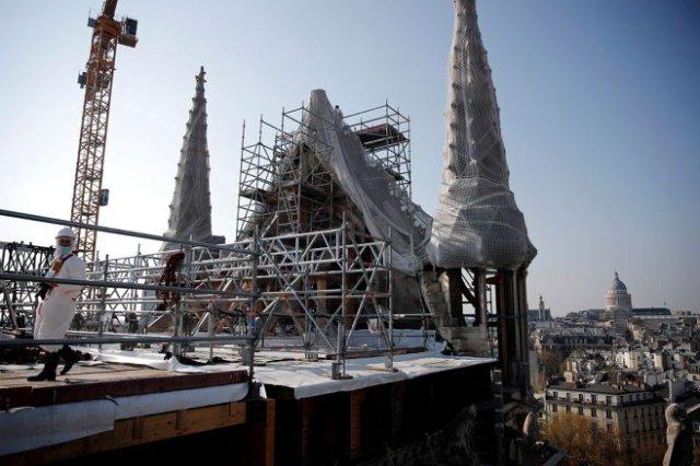 Notre Dame de Paris Cathedral's roof. (April 15, 2019)