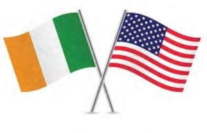 crossed us and Irish flags