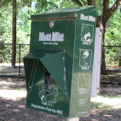 A Mutt Mitt dispenser is available inside dog park