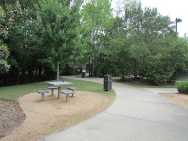 Picnic area along the walking path