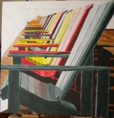 Muskoka Chairs painting on January 21, 2012