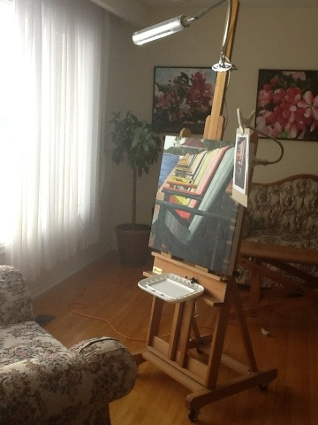 Muskoka Chairs painting on the easel