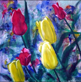 """Colours of Spring"" Brenda Stonehouse 24"" x 24"" acrylic on canvas. Private collection."