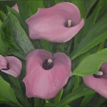 """Pink Lilies"" Brenda Stonehouse 11"" x 14"" oil on canvas. Private collection."