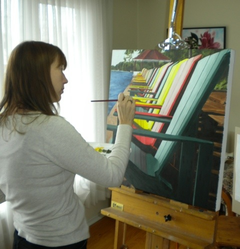 Brenda at the easel