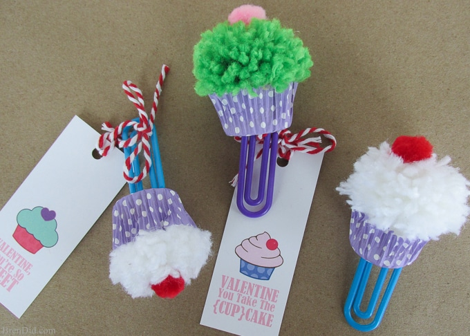 Cupcake Bookmark Craft Amp Free Printable Valentine Cards
