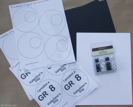 All signs point to a great Valentine's day with these free Magic 8 ball free printable Valentines Cards. It's a quick and easy Valentine craft. You need black and white cardstock, a printer and some black brads.