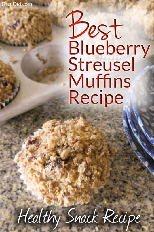 Are you a blueberry muffin lover? The Best Blueberry Streusel Muffin Recipe contains whole grains, very little refined sugar, and only healthy fats. The irresistible streusel topping is made with wheat germ, oats and flax seed instead of butter and sugar.