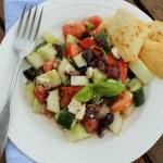 Greek Salad Recipe with Fresh Green Tomatoes