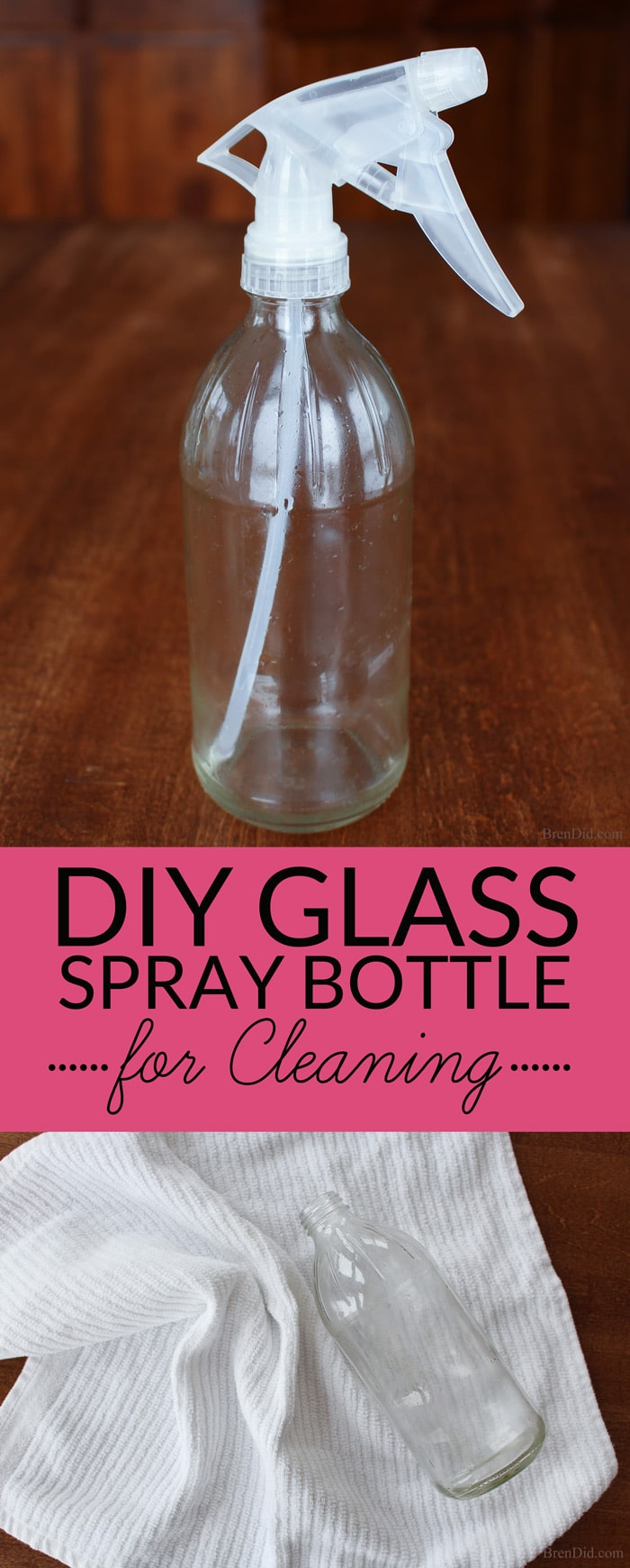 Get spray bottles for all your DIY cleaners for FREE with this easy upcycled project. Glass spray bottles do not react with essential oils and other green cleaning ingredients and are recommended by green cleaning experts.