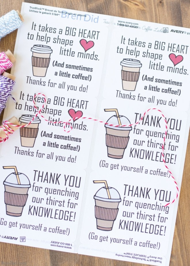free printable gift tag featuring fun coffee sayings.
