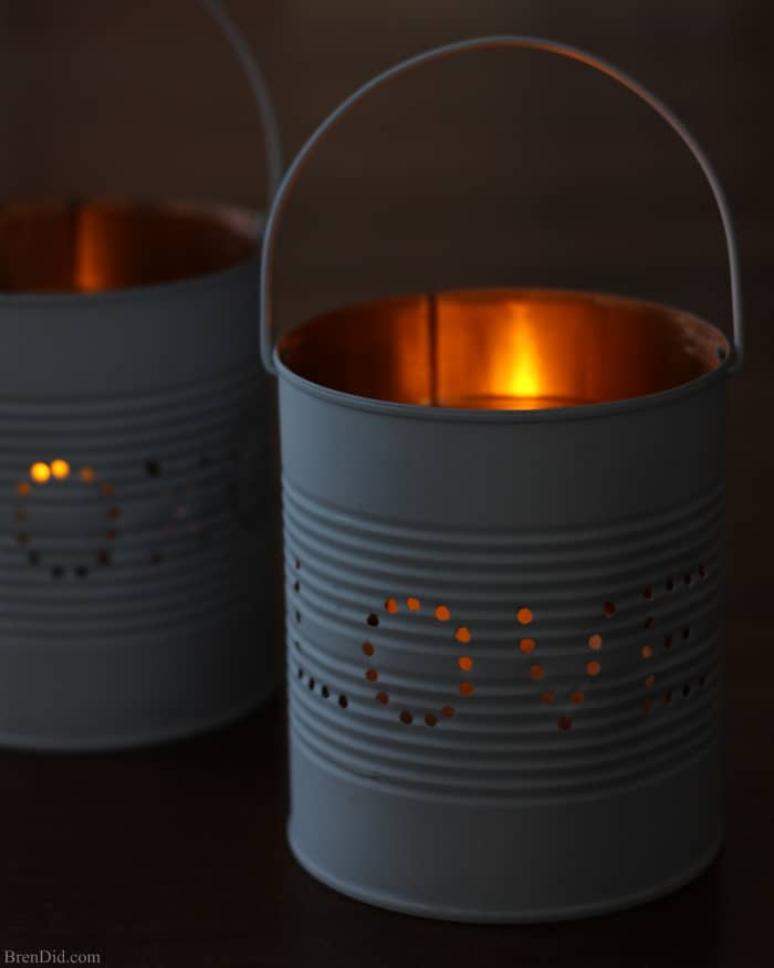 Upcycled Craft Idea Valentine Tin Lantern Bren Did