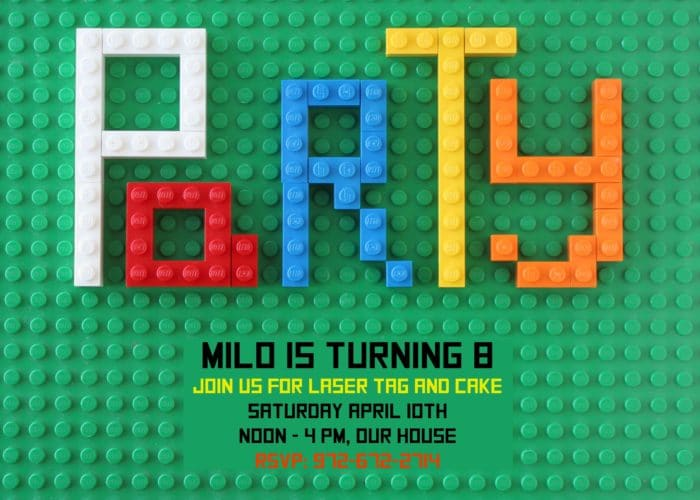 Looking for original or free Lego Birthday Party invitations? This step-by-step tutorial shows you how to make Lego Party Invitations. You can also download a free editable PDF version at BrenDid.com. Turn Legos into customs birthday party invitations. Boy Birthday Party Ideas, Lego Birthday, Lego Party, Lego Bricks, DIY Birthday invitations