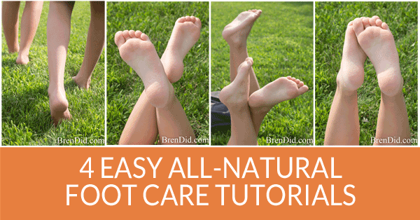 Keep your toes and feet in tip top shape with these four natural foot care tutorials using natural ingredients and essential oils. Banish stinky feet, eliminate foot odor, make shoe odor disappear, and keep shoes smelling sweet.