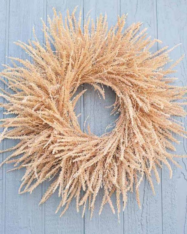 fall wreath made from corn tassels