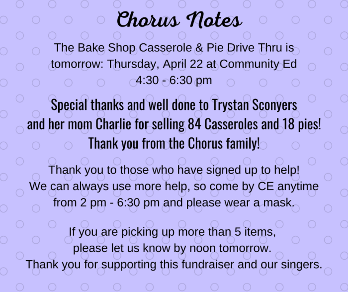 Chorus notes for April 21, 2021