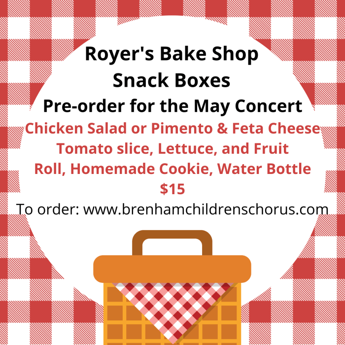 Snack Box Ordering for Spring Concert