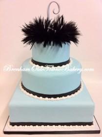 Black Feather Blue Wedding Cake