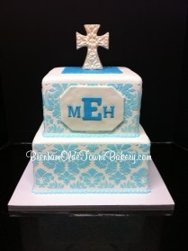 blue damask christening