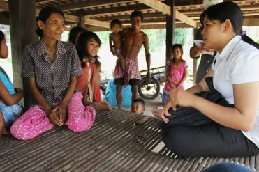 Kuntheay speaking to our first family in Prey Veng