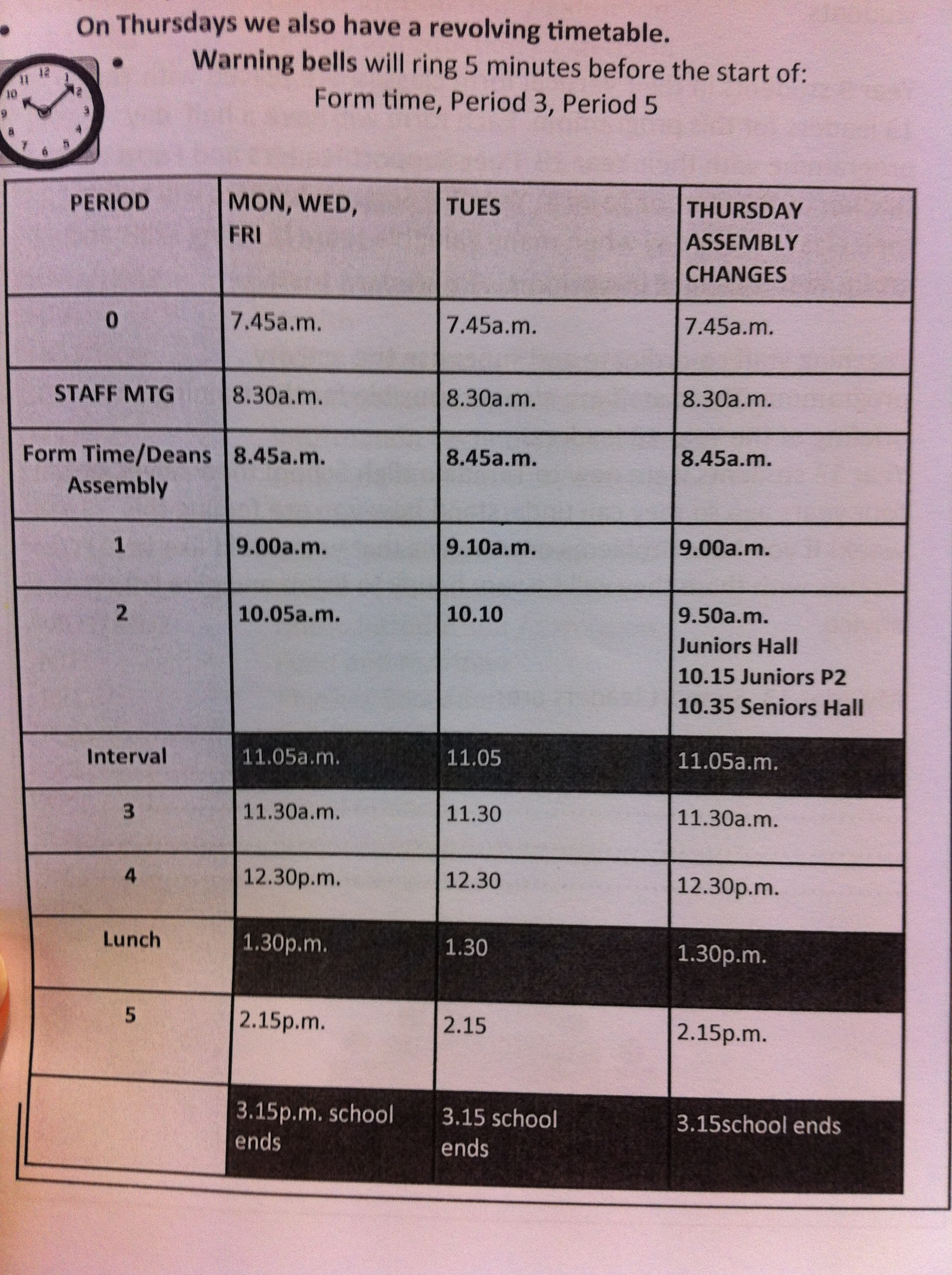 Typical American High School Timetable