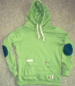 Kapuzen-Sweatshirt grün mit Taschen und Ellbogenschonern