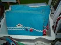 blaue Meeres-Täschchen mit Schiff-Knopf
