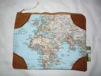 großes Krimskrams-Täschchen Landkarte brauner Cordstoff