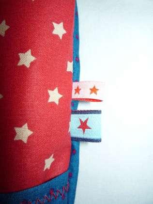 Handtasche Zirkus Sterne Punkte rot blau seitlich