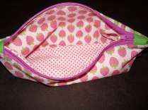 Mäppchen - Sonnenbrillenetui - Kosmetiktasche 4 innen rosa Erdbeeren und Punkte