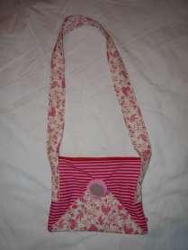 romantische Handtasche Vögel rosa mit Reißverschluss 2 Außenfächer 1 Reißverschluss-Innenfach
