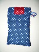 Smartphone-Tasche blau weiße Punkte Rückseite