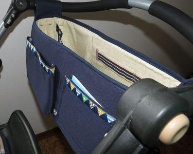 Brennender-Schuh stabiler Kinderwagen-Organizer außen dunkel-blau, innen beige abwaschbar, Buggy-Organizer, Baby-Wickeltasche genäht