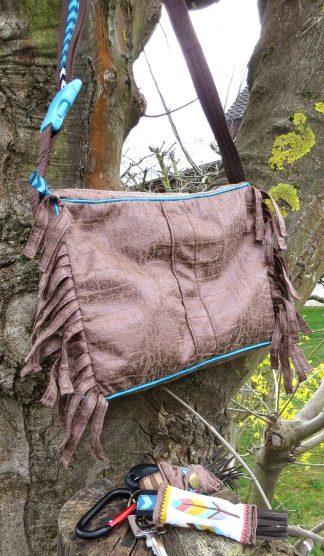 Fransen-Handtasche Leder-Reptilien-Indianer-Look, braun-türkis, Schlüsselanhänger Feder, Einkaufs-Chip-Täschchen für Autoschlüssel, genäht, DIY