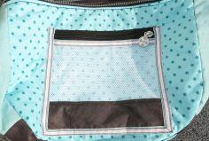 Reißverschlussfach Mesh in Wickeltasche - Handtasche, Anthrazit-Mint mit Sternen