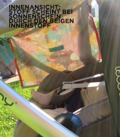 Innenansicht Sonnenschutz beige Fuchs-Motiv, Babyschalengestell, Kinderwagen, fürs Baby genäht