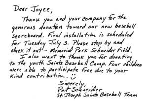 Saints Baseball Team