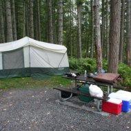 Our Campsite at Alder Lake (Slightly Damp)