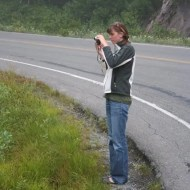 Ashley taking pictures of wild flowers