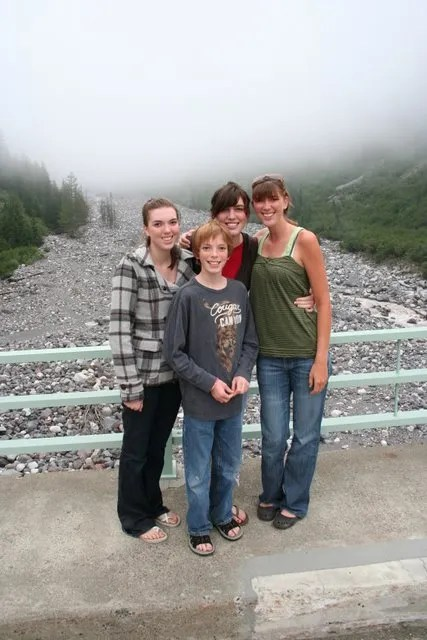 Melissa, Jamison, Heather and Ashley on bridge over Nisqually River