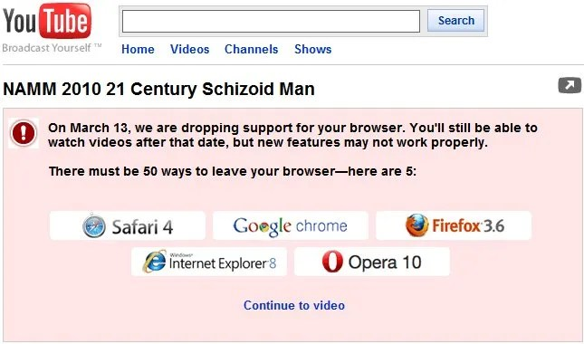 YouTube Serves Notice on IE6