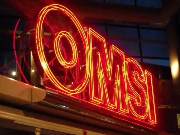 OMSI neon sign