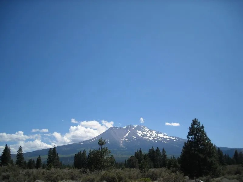 Mt. Shasta from Taco Bell in Weed, Calif.