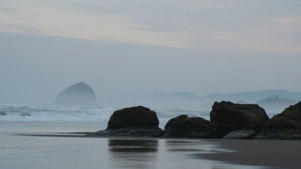 Haystack Rock in the distance