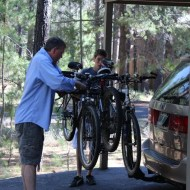 Jamison helps me load up the bikes