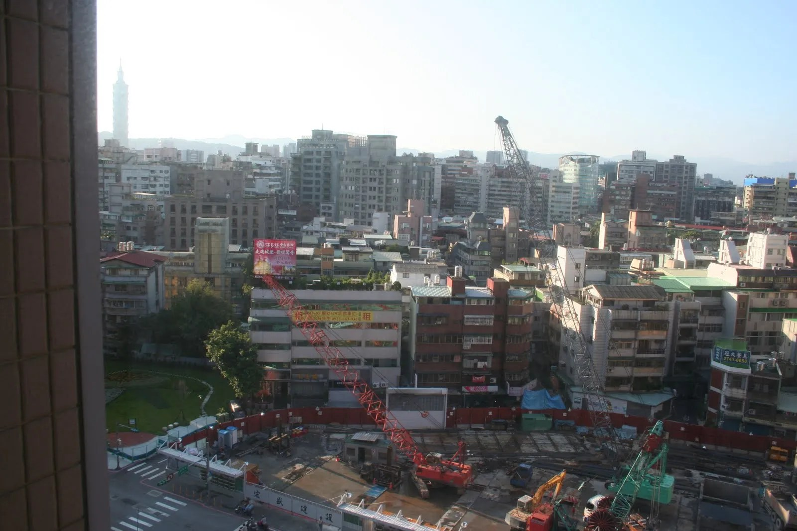 View from my hotel room. Taipei 101 in the distance.
