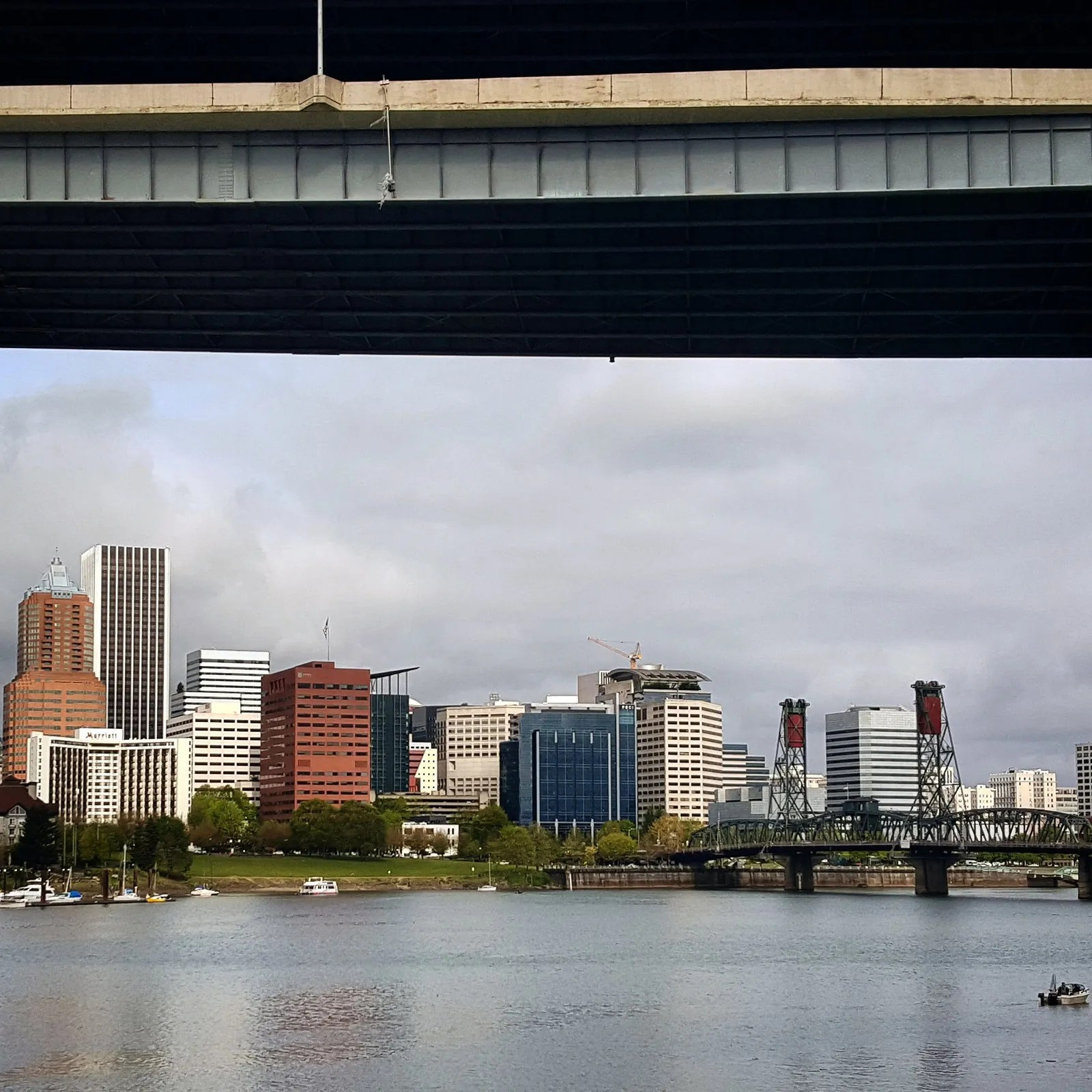 Portland waterfront under the Marquam Bridge
