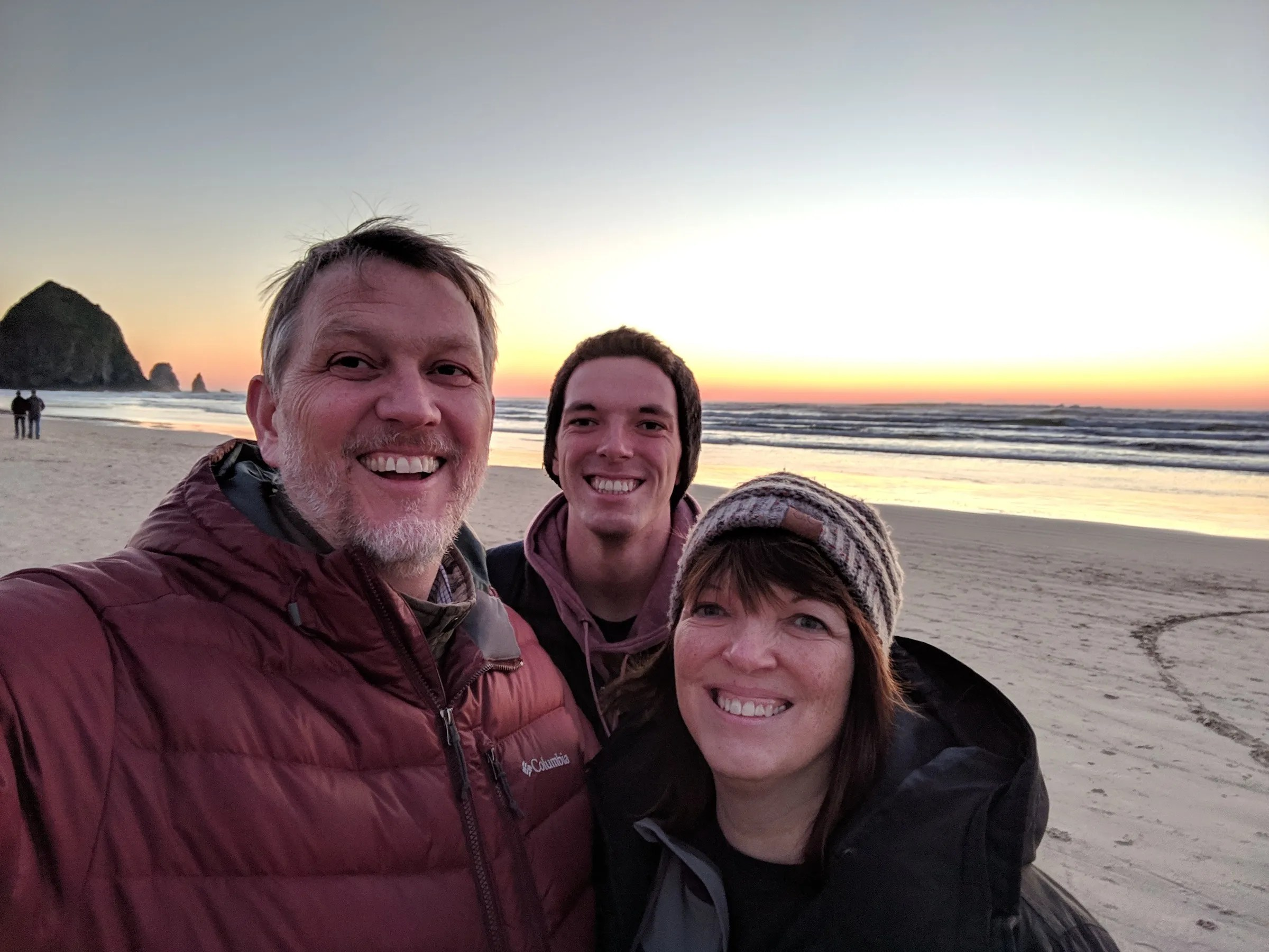 Suzi, Jamison, and me at Cannon Beach