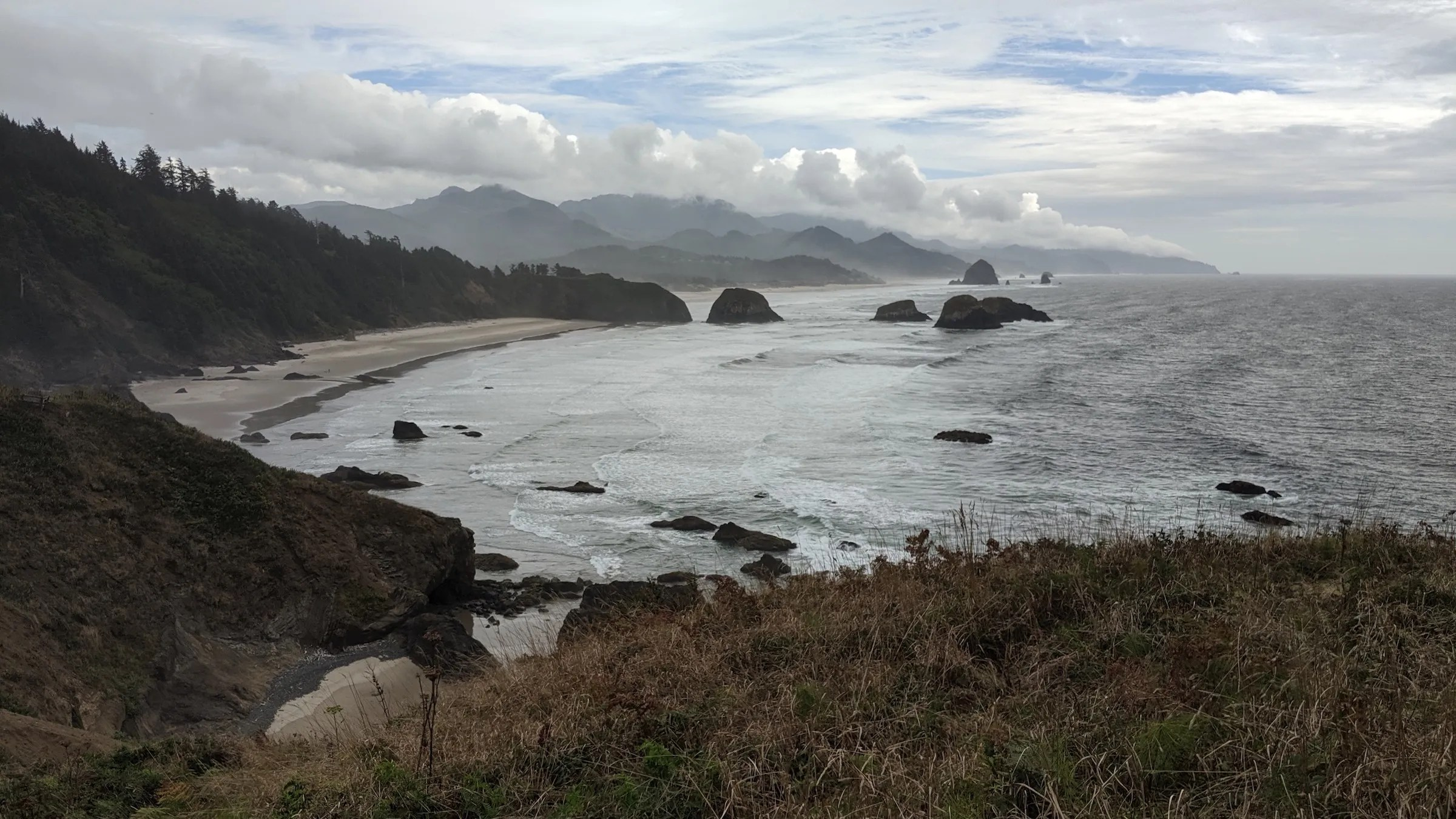 Crescent Beach from Ecola Point. Cannon Beach and Haystack Rock in the distance.