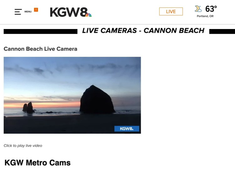KGW8 Live Camera of Haystack Rock and The Needles on Cannon Beach.